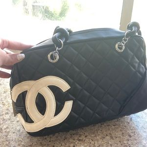 Calfskin CHANEL quilted Cambon tote